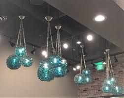 Pendant Fishing Light Vintage Glass Fishing Float Cluster Pendant Light