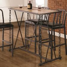 Dining Table Metal Legs Wood Top Coaster 10069 Rustic Industrial Chain Link Bar Table Value City