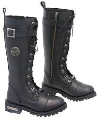 women s lace up biker boots women u0027s tall milwaukee lace up combat riding boots w zipper