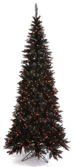 pre lit black fir slim artificial tree orange