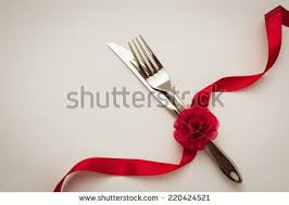 fork spoon knife decorative ribbon stock photo 180351428