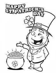 a happy leprechaun found pot of gold on st patricks day coloring