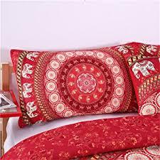 amazon com sleepwish elephant mandala duvet cover red bohemian