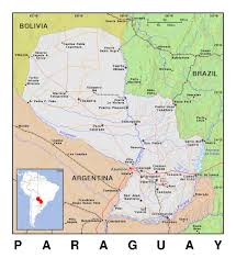 Political Map Of America by Detailed Political Map Of Paraguay With Relief Paraguay South