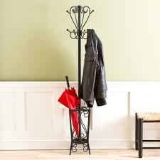 furniture black scrolled metal standing coat rack and umbrella stand