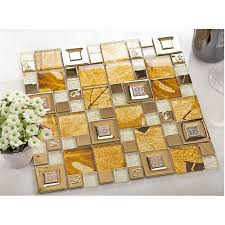 gold 304 stainless steel metal tiles crystal glass mosaic tile