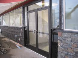 exterior design double entry storefront door with glass screen