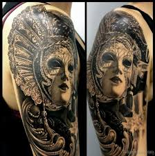 56 elegant mask tattoos on arm