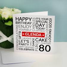 personalised 80th birthday card by a type of design