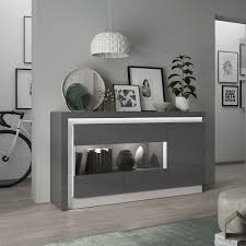 White Gloss Furniture Lyon High Gloss Sideboard In Grey With Led