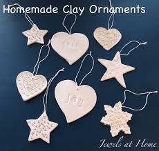 clay ornaments with the jewels at home