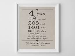 4th anniversary gift ideas for him 4 years together linen anniversary print 4th wedding 4th wedding