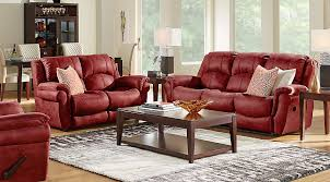 corbin red 3 pc living room with reclining sofa living room sets
