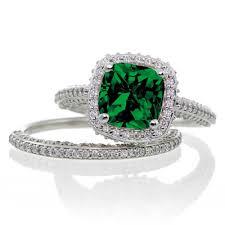 Halo Wedding Rings by 2 5 Carat Cushion Cut Designer Emerald And Diamond Halo Wedding