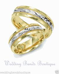 matching wedding bands his and hers two tone 14k white yellow gold matching wedding ring set his