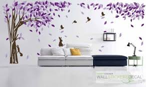 Elegant tree with bird rabbit vinyl wall sticker home decor