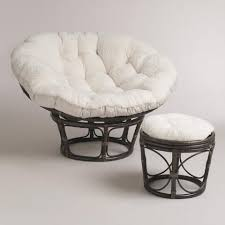 Papasan Ottoman Ivory Faux Fur Papasan Cushion World Market