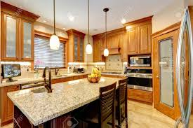 kitchen with brown cabinets luxury kitchen with light brown cabinets steel appliances