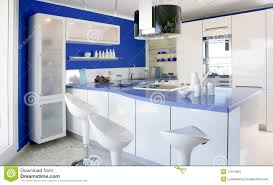 modern interior design kitchen blue white kitchen modern interior design house royalty free stock