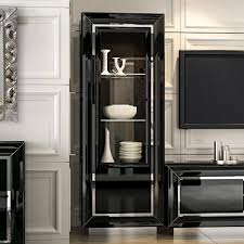 black display cabinet with glass doors