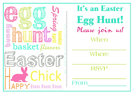 cheerful easter egg hunt invitation e card design sample with