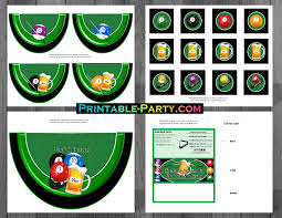 Pool Table Supplies by Printable Billiards Party Supplies Billiards Birthday Theme