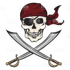 vector cartoon pirate skull in red bandana with cross swords stock