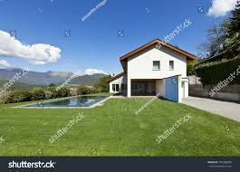 house with swimming pool beautiful country house swimming pool outdoor stock photo