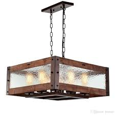 8 Light Pendant Chandelier Rustic Kitchen Island Light 8 Light Square Wood And Metal Pendant