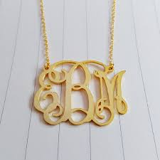 gold monogrammed necklace 2 5 inch personalized monogram necklacepersonalized