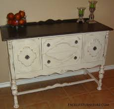 Antique White Sideboard Buffet by Antiqued White Buffet With Dark Brown Top Facelift Furniture