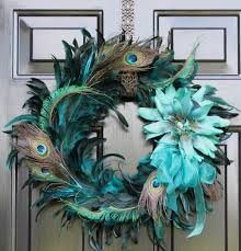 peacock feather wreath summer wreath home decor by oursentiments