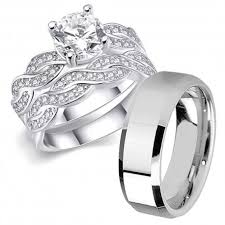 wedding ring set his hers 3 pcs men s stainless steel band women infinity