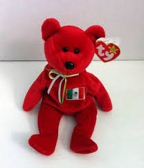 Baby Flag Osito Ty Beanie Baby Mexico Bear Retired Red With Mexican Flag