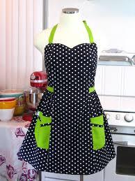 plus size apron polka dot black white with lime green zoom