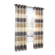Victoria Classics Curtains Grommet by Legacy Mist Stripe Metallic 84 In L Striped Taupe Grommet Window
