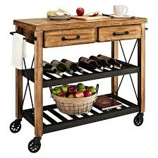 roots rack industrial kitchen cart wood natural crosley target