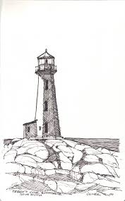 drawn lighthouse pencil and in color drawn lighthouse