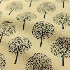 buy hessian linen fabric japanese woodland tree motif