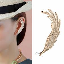 cheap clip on earrings new fashion jewelry gold angel wing ear cuff ear clip on