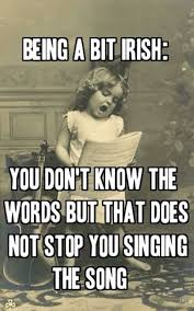 Being a bit Irish  You don     t know the words but that does not stop you singing the song Pinterest