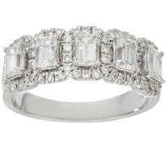 qvc wedding bands halo 5 emerald cut band ring 1 30cttw 14k