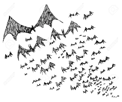 big group of sketched flying halloween bats royalty free cliparts