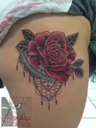 tatted4life80 roselace tattoo rose lace neotraditional thigh tattoo