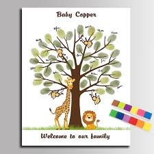 baby shower fingerprint tree fingerprint tree painting canvas baby shower guest book giraffe