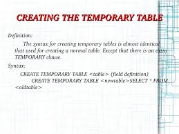 Create Temporary Table My Sql Ppt