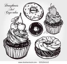 hand drawn vintage cupcake sketch repeating stock vector 579684322