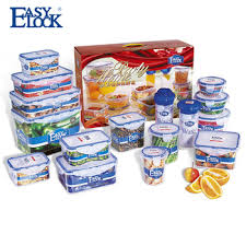 Food Storage Container Sets - easy lock stackable plastic food storage container set with sealed