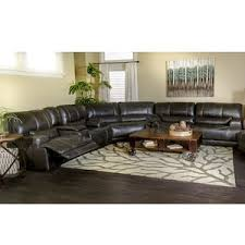 3 piece leather reclining sectional in charcoal nebraska