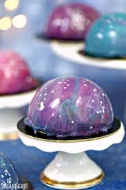 galaxy mousse cakes with mirror glaze sugarhero